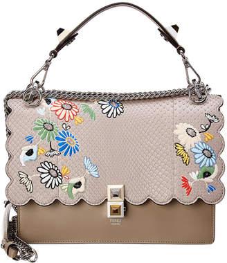 Fendi Kan I Leather & Python Shoulder Bag