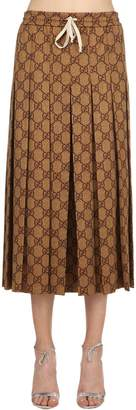 Gucci Gg Print Pleated Jersey Skirt