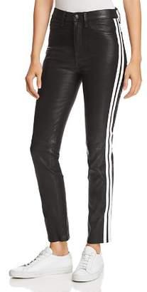 Rag & Bone Track Stripe Leather Ankle Cigarette Jeans in Black