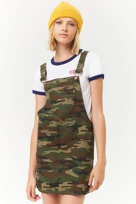 Forever 21 Camo Denim Overall Mini Dress