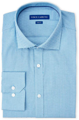 Vince Camuto Turquoise Gingham Dobby Slim Fit Dress Shirt