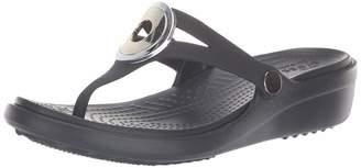 Crocs Women's Sanrah MetalBlock Wedge Flip Sandal