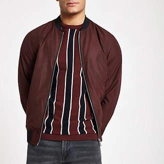 River Island Dark red bomber jacket