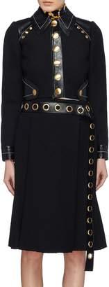 Proenza Schouler Stud leather panel cropped bouclé jacket