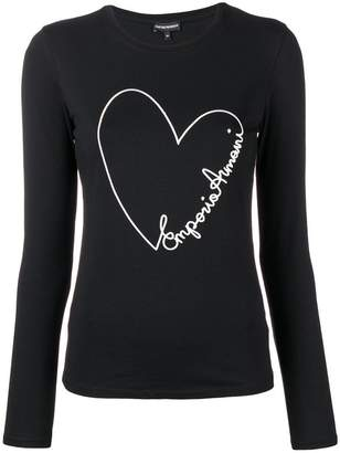 Emporio Armani embroidered heart long-sleeved T-shirt