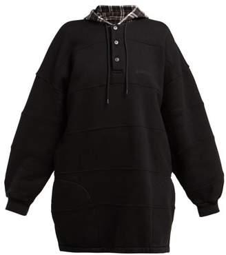 21c1a2c5d416 Balenciaga Panelled Hooded Cotton Sweatshirt - Womens - Black