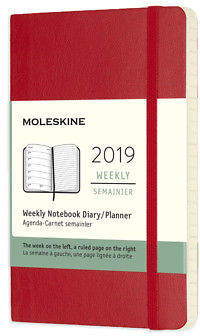 Moleskine NEW 2019 Weekly Diary Soft Cover Scarlet Red Pocket