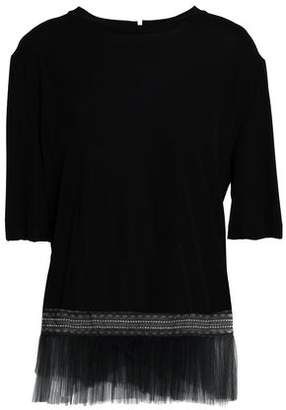 Vionnet Lace-Trimmed Pleated Tulle-Paneled Crepe Top