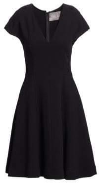 Lela Rose V-Neck Fit-&-Flare Cocktail Dress
