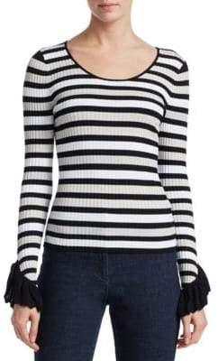 Scripted Stripe Ruffle Cuff Sweater