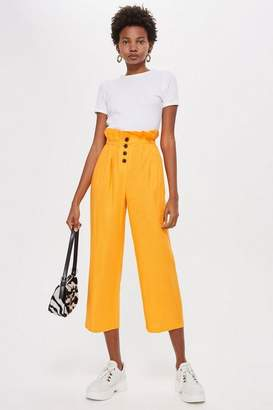 Topshop Button Crop Wide Leg Trousers