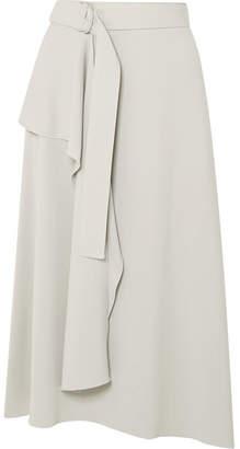 Joseph Sybil Belted Asymmetric Crepe Midi Skirt - Stone
