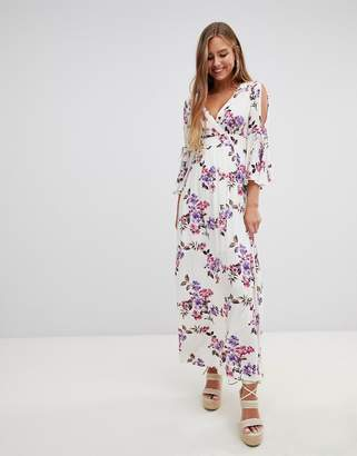 Gilli flare sleeve floral print maxi dress