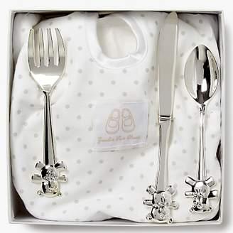 English Trousseau Silver Plated Cutlery Set with Bib