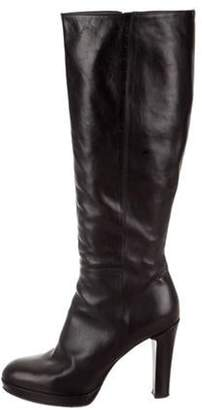 Alberto Fermani Leather Platform Knee-High Boots Black Leather Platform Knee-High Boots