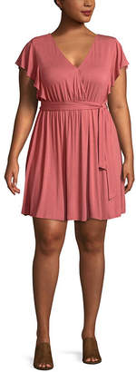 Self Esteem Short Sleeve Wrap Dress-Juniors Plus