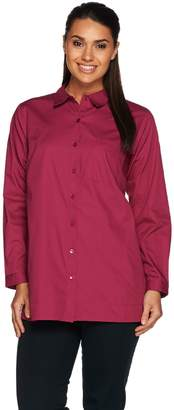 Joan Rivers Classics Collection Joan Rivers Long Sleeve Boyfriend Shirt with Chest Pocket