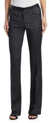 Akris Punto Faye Leather Waist Bootcut Denim Pants