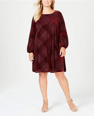 Taylor Plus Size Velvet-Burnout Balloon-Sleeve Dress