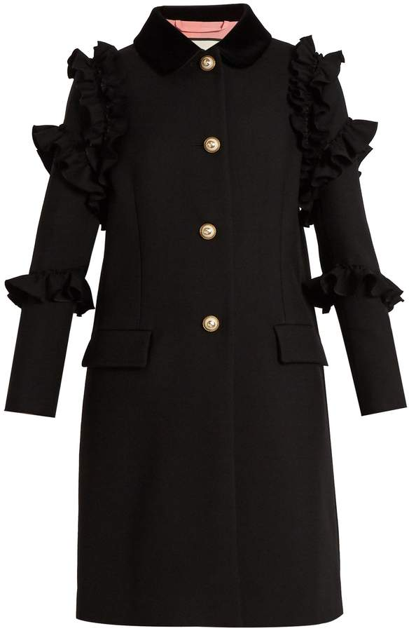 GUCCI Ruffle-trimmed single-breasted wool coat