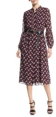 MICHAEL Michael Kors Chevron-Print Georgette Midi Dress with Belt