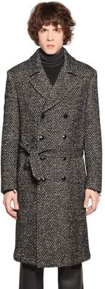 Etro Double Breasted Mohair Blend Tweed Coat
