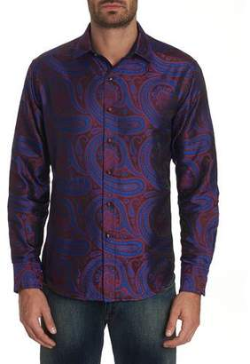 Robert Graham Men's Paisley Park Patterned Sport Shirt with Contrast Detail