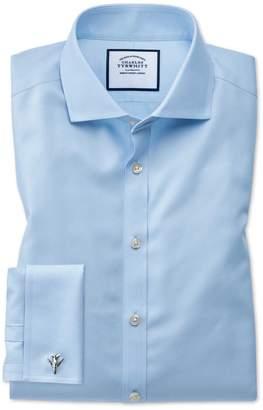 Charles Tyrwhitt Super Slim Fit Sky Blue Non-Iron Twill Cotton Dress Shirt Single Cuff Size 14.5/33