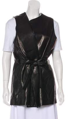 The Row Leather Collarless Vest