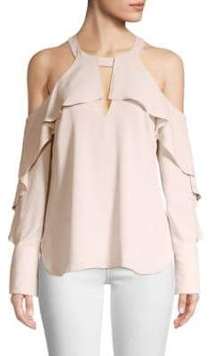 BCBGMAXAZRIA Long Sleeve Ruffled Cold-Shoulder Top