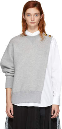 Sacai Grey and White Sweat Shirting Combo Blouse