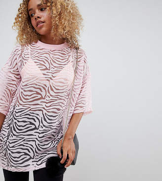 Glamorous Petite relaxed top in zebra burnout