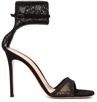 Gianvito Rossi Halle Ankle Strap Lace Sandals - Womens - Black