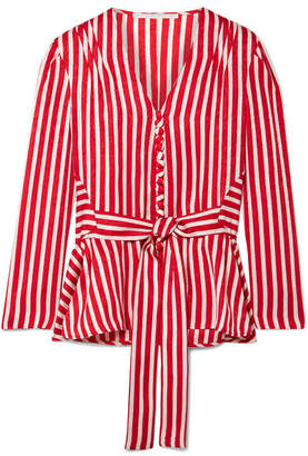 Stella McCartney Striped Silk-moire Peplum Blouse - Red
