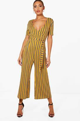 boohoo Striped Wrap Front Culotte Jumpsuit