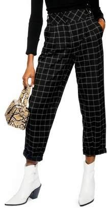 Topshop Windowpane Deep Waistband Cropped Trousers