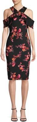 Rachel Roy Floral Cold-Shoulder Sheath Dress