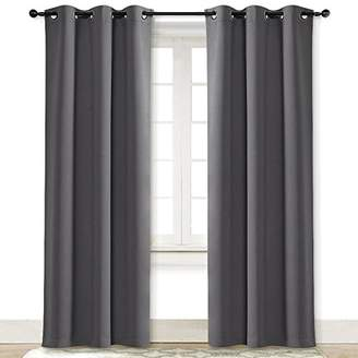 NICETOWN Gray Curtain Blackout Drape Panel Three Pass Microfiber Noise Reducing Thermal Insulated Window Drapery with Grommet (Single Panel