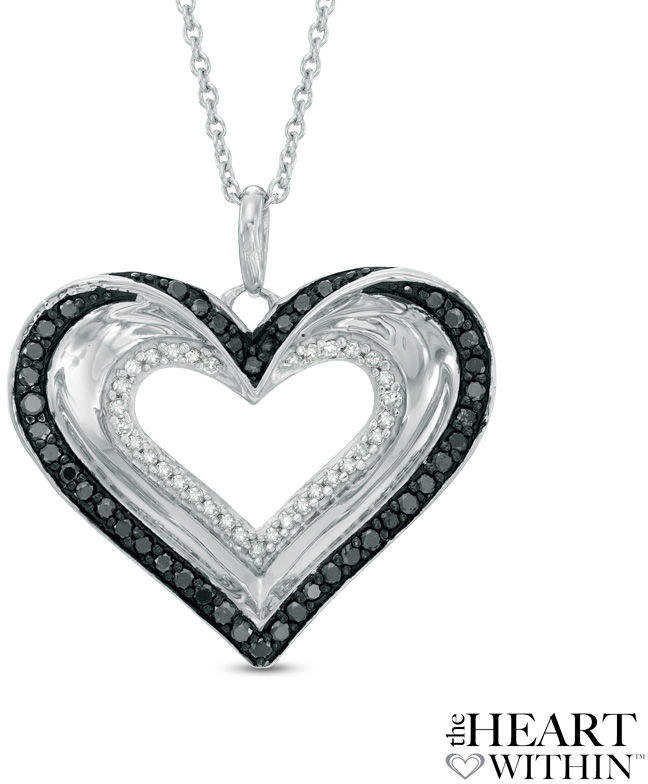 Zales The Heart WithinA 1/2 CT. T.W. Enhanced Black and White Double Diamond Heart Pendant in Sterling Silver