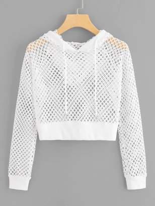 Shein Plus Fishnet Mesh Drawstring Hooded Sweatshirt