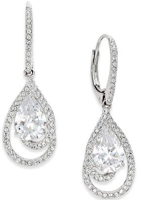 Eliot Danori Silver-Tone Crystal Teardrop and Pave Drop Earrings