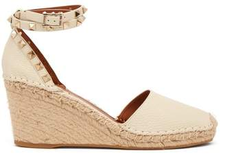 Valentino Rockstud Wedge Grained Leather Espadrilles - Womens - White
