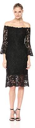 Jax Women's Off Shoulder Lace Midi Sheath