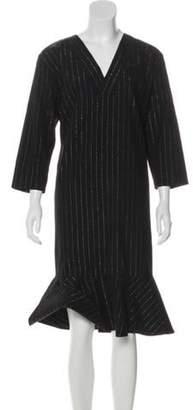 ARTHUR ARBESSER Metallic Striped Wool Dress Black Metallic Striped Wool Dress