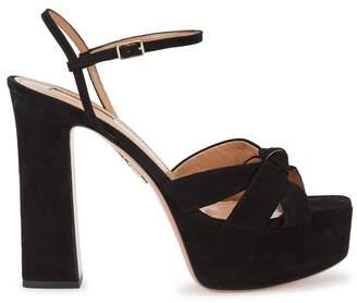 Aquazzura Coquette Black Suede Platform Sandals
