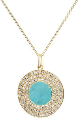 Jennifer Meyer Women's Turquoise-Inlay & Diamond Circle Necklace
