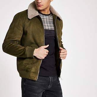 Mens Khaki faux suede borg collar jacket
