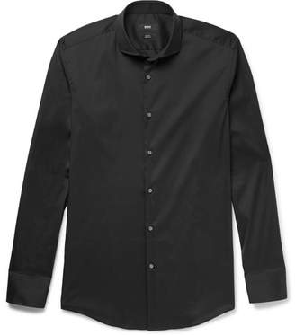 HUGO BOSS Black Jason Slim-Fit Cutaway-Collar Stretch Cotton-Blend Shirt