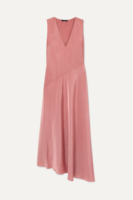 Theory Paneled Hammered-satin Maxi Dress - Blush