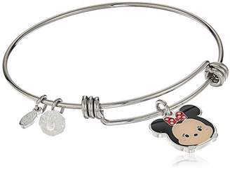 Disney Stainless Steel Adjustable with Silver Plated Tsum Tsum Minnie Mouse Enamel Charm Bangle Bracelet